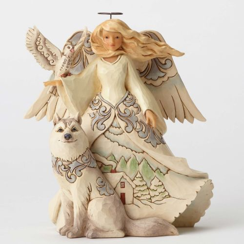 Jim Shore In Wind And Snow Wonder Does Grow White Woodland Angel with Husky